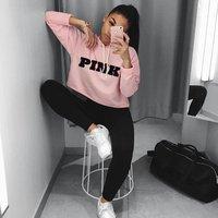 Fashion PINK Printing Hoodies Sweatshirts Jumper Crop Top Coat Crew Neck Women Clothing Loose Short 2017