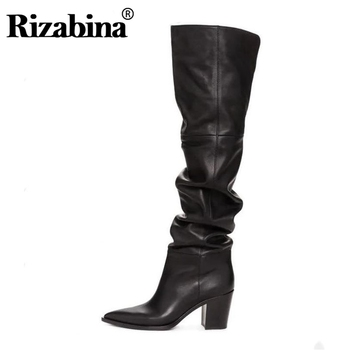 RIZABINA Size 36-43 Real Leather Women Over Knee Boots Fashion Brand Sexy High Heel Winter Shoes Women Party Street Footwear