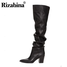 RIZABINA Size 36-43 Real Leather Women Over Knee Boots Fashion Brand Sexy High H