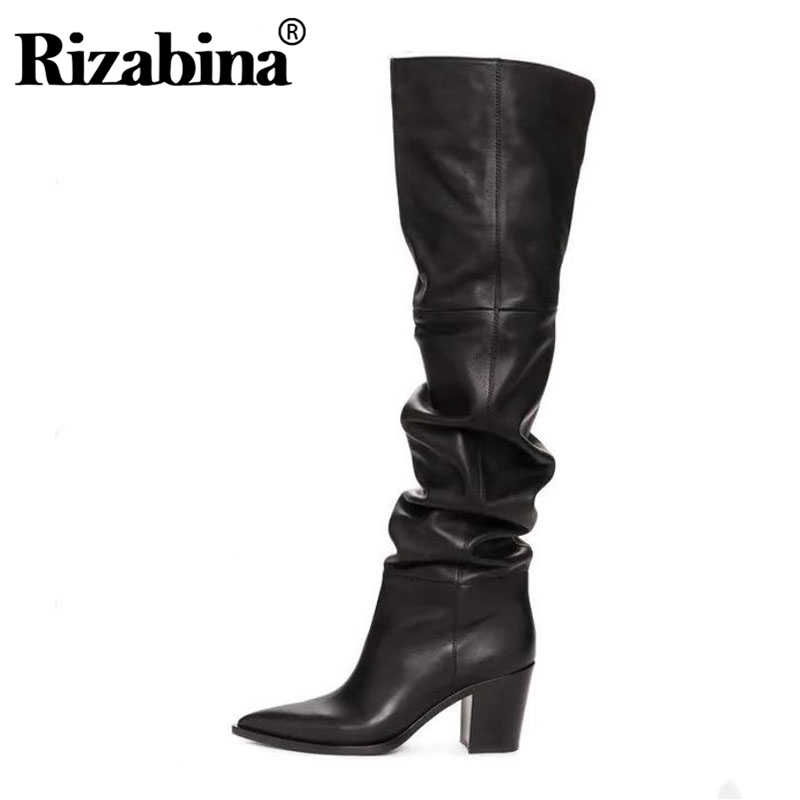 RIZABINA Size 36-43 Real Leather Women Over Knee Boots Fashion Brand Sexy High Heel Winter Shoes Women Party Street Footwear image
