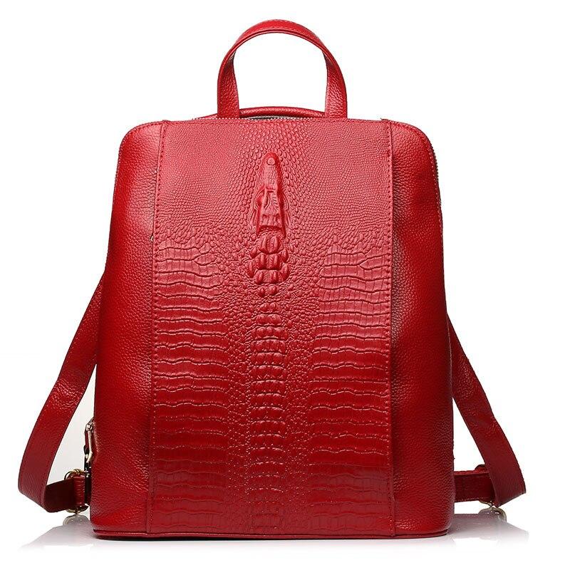 Marque de luxe 100% véritable sac à dos en cuir véritable dames motif Crocodile femmes sac à dos fille cahier cartables sacs de voyage