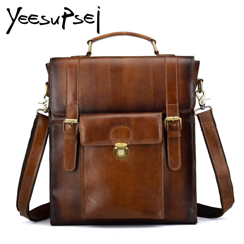 YeeSupSei Vintage Casual Genuine Leather Crazy Horse Leather Women Male Large Capacity Travel Backpack Soft Handle Bag Backpack male classic microfiber leather backpack