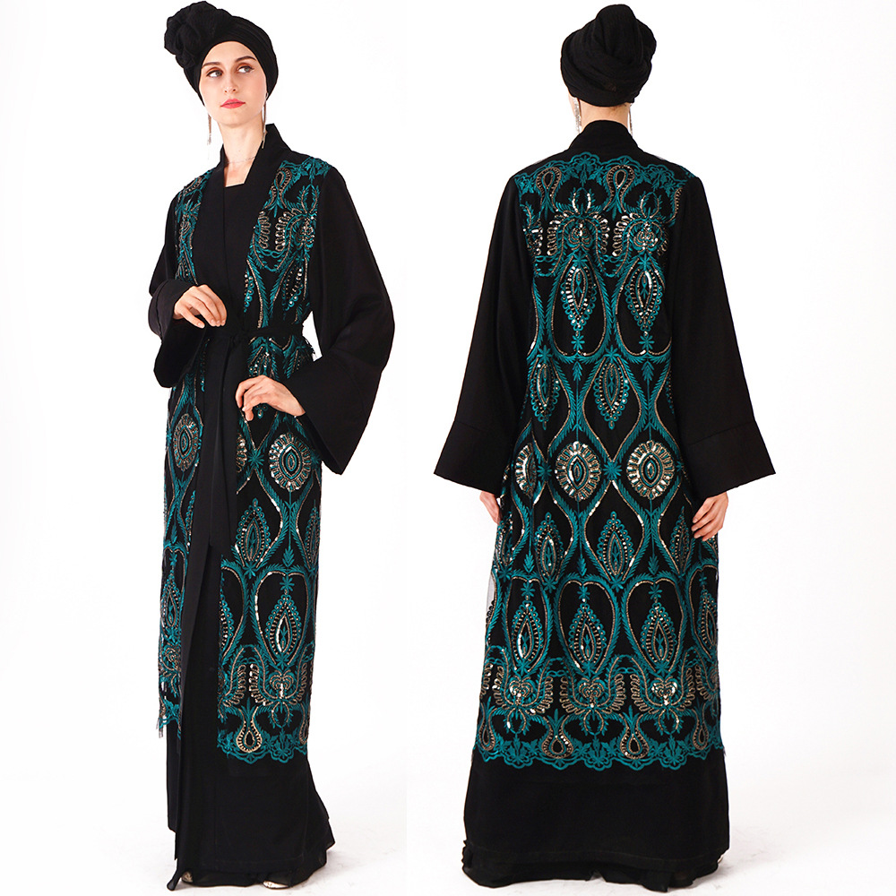 uslim dress cross-border hot style Muslim Middle East luxury robe sequins embroidery loose open front over women's wear