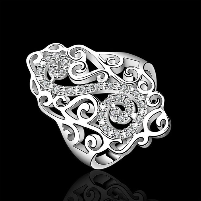 silver plated ring,high quality ,Nickle free,antiallergic,,R579-8 Silver plated new design finger ring for lady