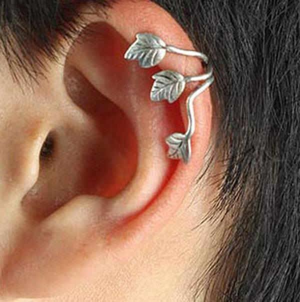 1pcs Ear cuff leaf shape clip on earrings ear cuff wrap silver