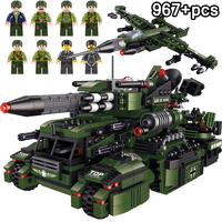 967PCS Military Series WW2 German 8 in 1 Armour Tank Building Blocks Compatible LegoINGs City Soldier Bricks Toys For Children