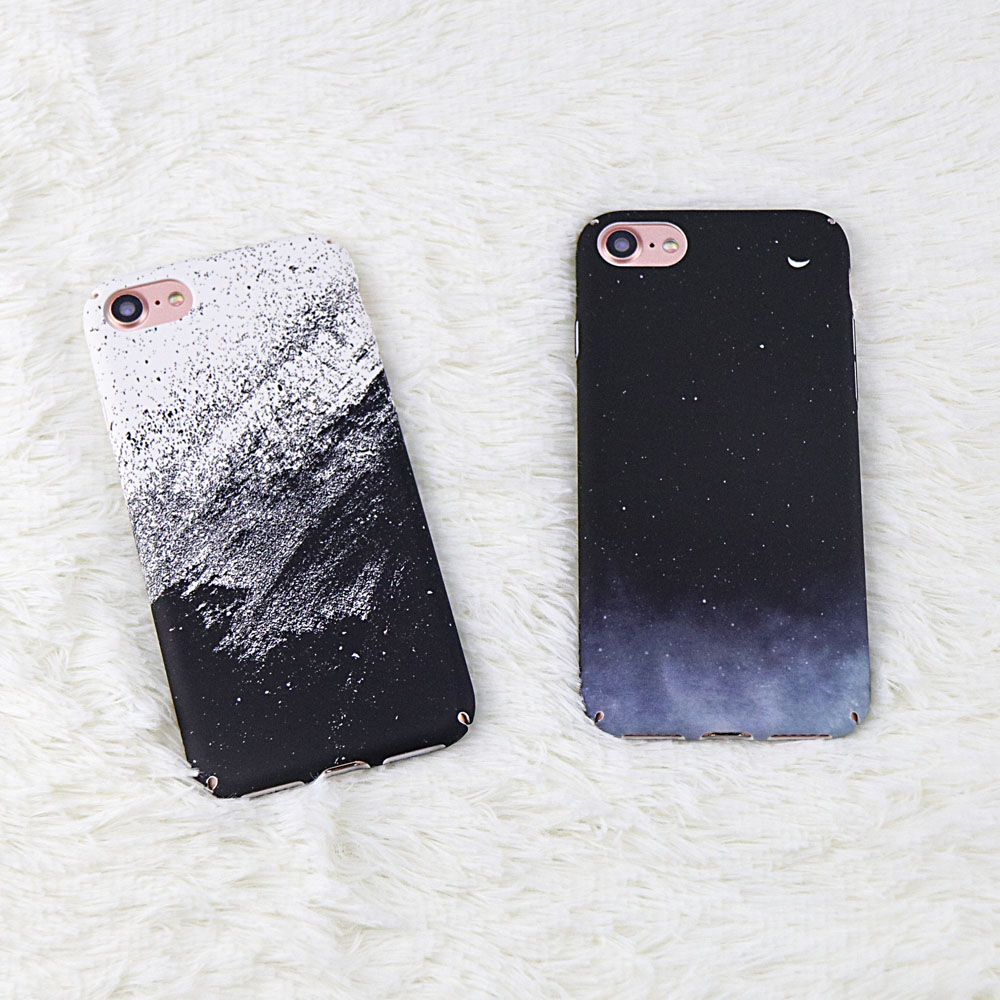 Classic Black White Graffiti Case For iphone 7 Case Lovely Starry sky White sand Hard PC Cover For iphone 7 6 6S 8 Plus X Case
