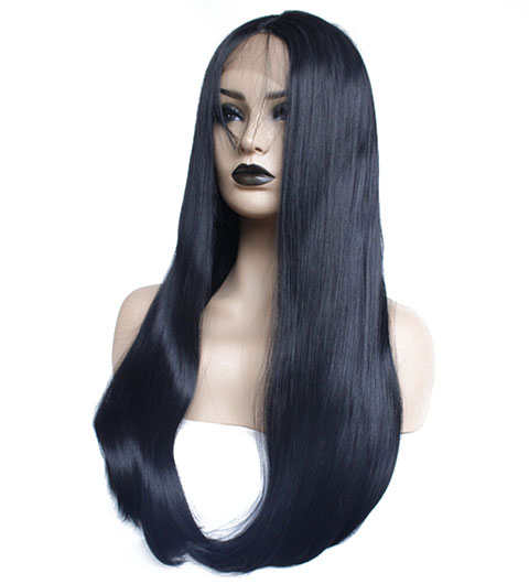 Long straight bob synthetic lace front wig-61