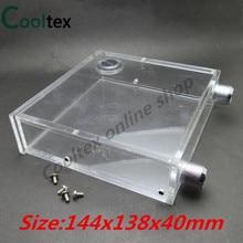 100% neue Acryl Voll transparent optisches laufwerk PMMA wassertanks 400 ML 144x138x40mm für computer wasserkühlung tank kühler