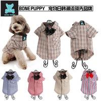 10pcs Lot Mix Color And Sizes BONEPUPPY Bowtie Elengant Dog T Shirt Pet Puppy Cat Polo