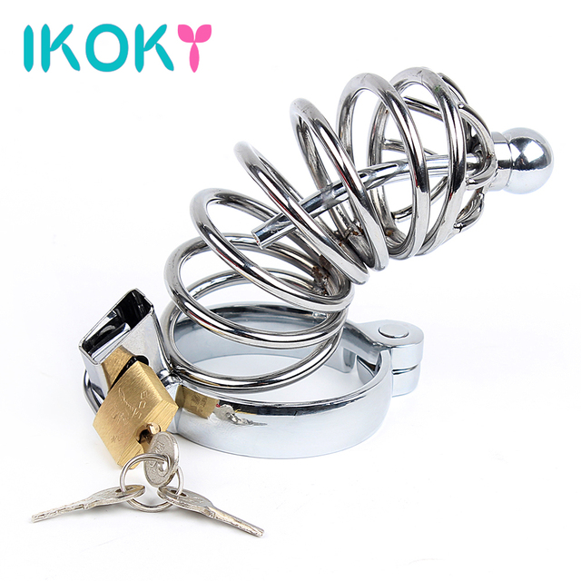 IKOKY Stainless Steel Lockable Male Chastity Device Penis Cage With Catheter Sex Toys For Men Penis Cock Ring Sleeve Cock Lock