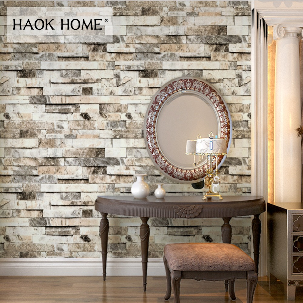 HaokHome Modern Faux Brick Stone Textured Wallpaper 3d PVC Vinyl Contact paper Living room Bedroom Bathroom Home Wall Decoration vintage 3d stone brick wall wallpaper pvc waterproof wall paper bedroom living room wall decoration vinyl wallpaper for walls 3d
