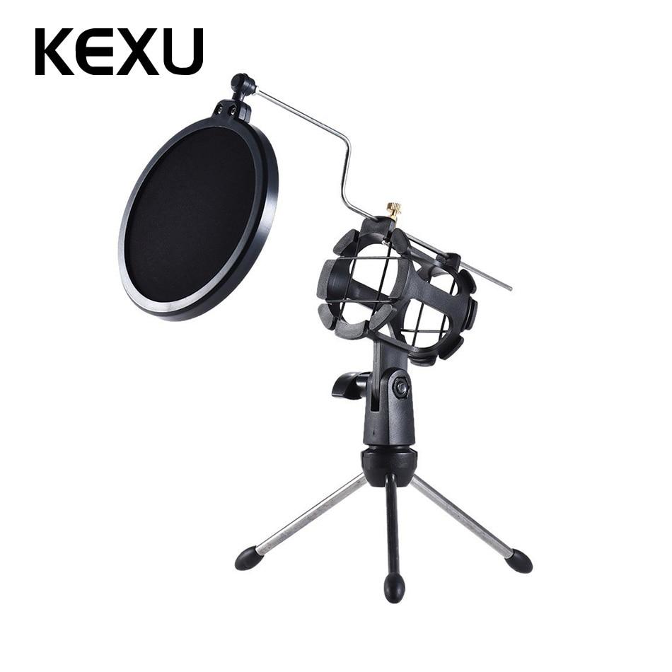 KEXU Black Desktop Microphone Stand Table Plastic Mini Mic Clip Tripod Holder with Pop Filter Double Mesh Screen Micro Tripod