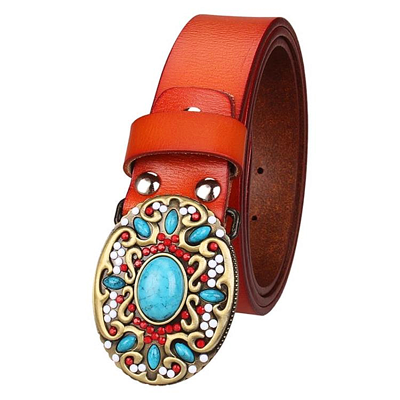 Women   belt   Genuine leather   belt   cowskin gem turquoise pattern arabesque retro woman decorative   belt   lady