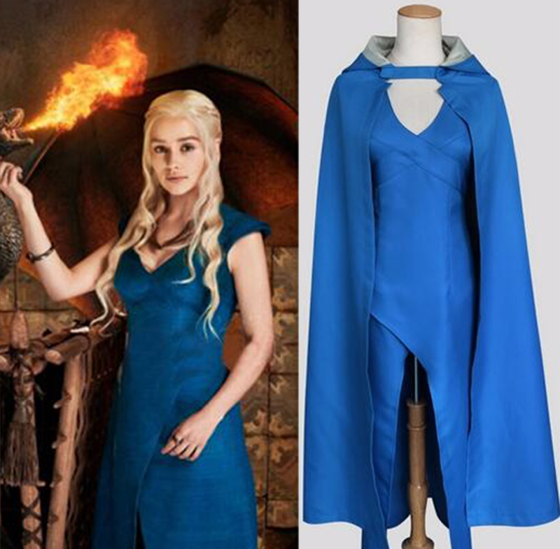 Daenerys Targaryen Costume Game of Thrones Blue Dress Cloak A Song Of Ice And Fire Movie Cosplay Christmas Costumes For Women