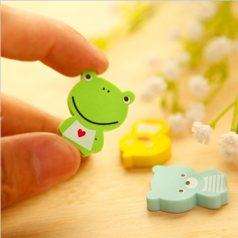 4 Pcs /lot Lovely Frog Animals Mini Rubber Eraser Creative Stationery School Supplies Papelaria Child's Gift Students Supplies