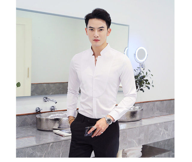 Fall Winter Stand Collar Mens Long-sleeved Dress Shirts Black Red White Slim Elegant Youth Male Business Wedding Formal Shirt 14
