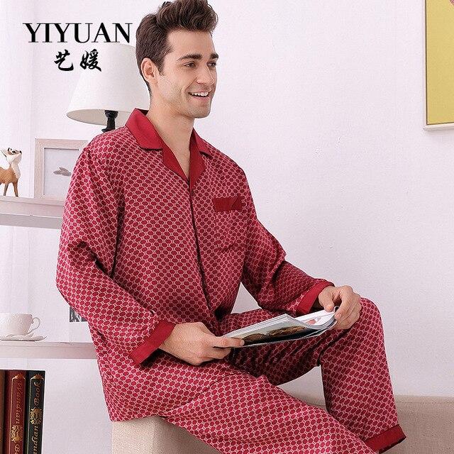 a6ada57816 YIYUAN Brand Men Silk Pajamas 2019 NEW Long-Sleeved Pajama Pants Sets  Fashion Printed 100