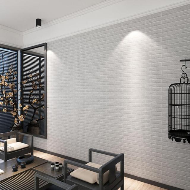 pe foam 3d wallpaper diy wall stickers wall decor embossed brick stone waterproof kids bedroom living