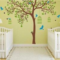 Большая наклейка на дерево с клетки для птиц стикер на стену дерево и птицы настенные наклейки дерево наклейка для декора стен 704 T