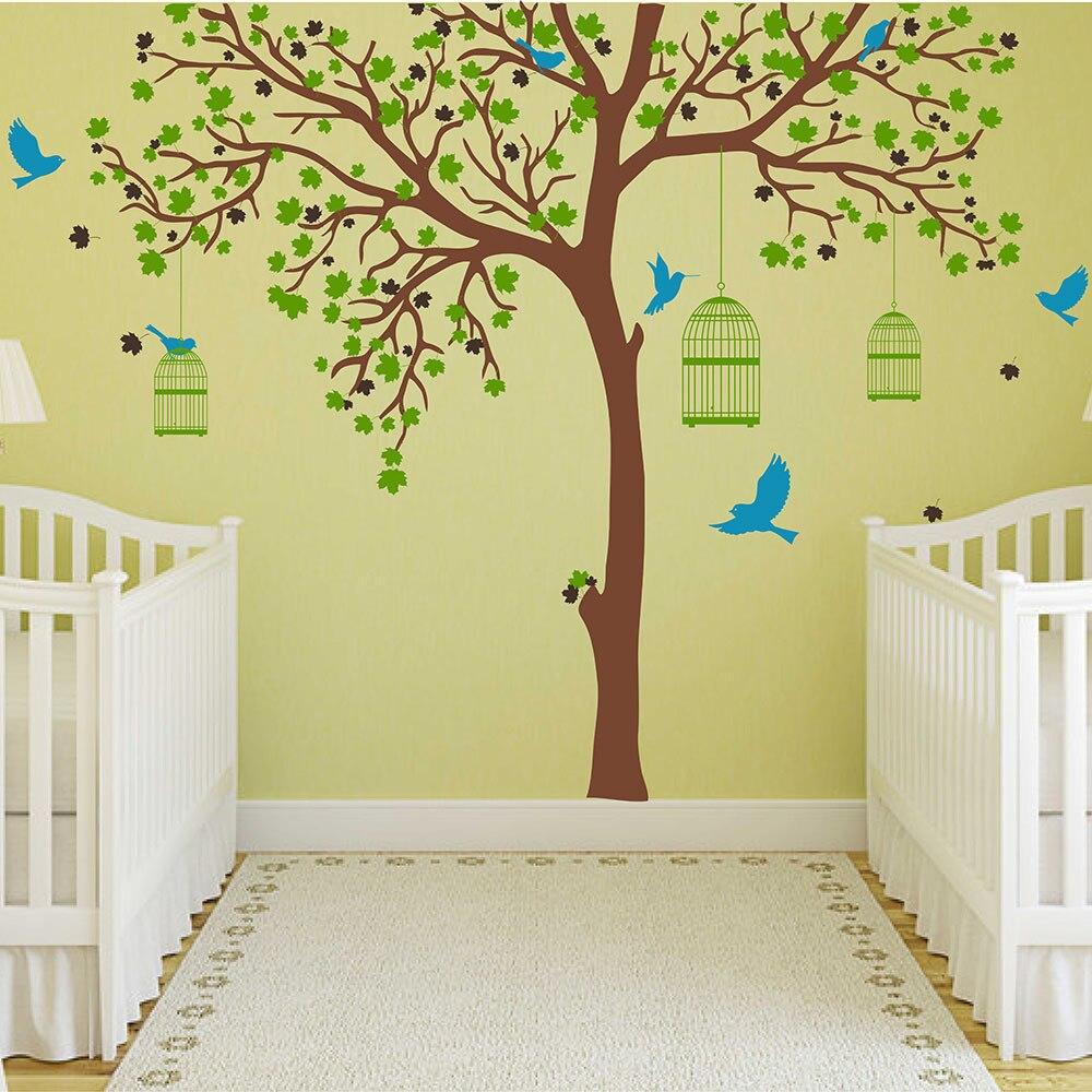 Grand arbre décalcomanie avec oiseaux Cages Sticker mural arbre et oiseaux stickers muraux amovible vinyle arbre autocollant décoration murale 704 T