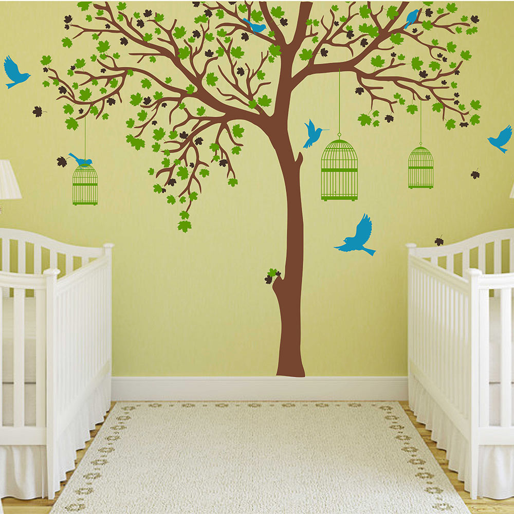 Large Tree Decal With Birds Cages Wall Sticker Tree And Birds Wall Decals  Removable Vinyl Tree