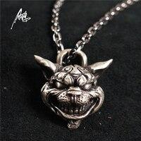 Ручной работы серебро морщинами Jewelry Alice Madness возвращает Чеширский кот 925 Серебряный кулон Цепочки и ожерелья