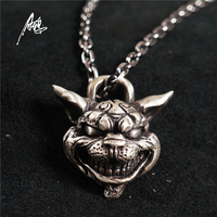 Custom Handmade Sterling Silver Aging Treatment Jewelry Alice Madness Returns Cheshire Cat 925 Silver Pendant Necklace