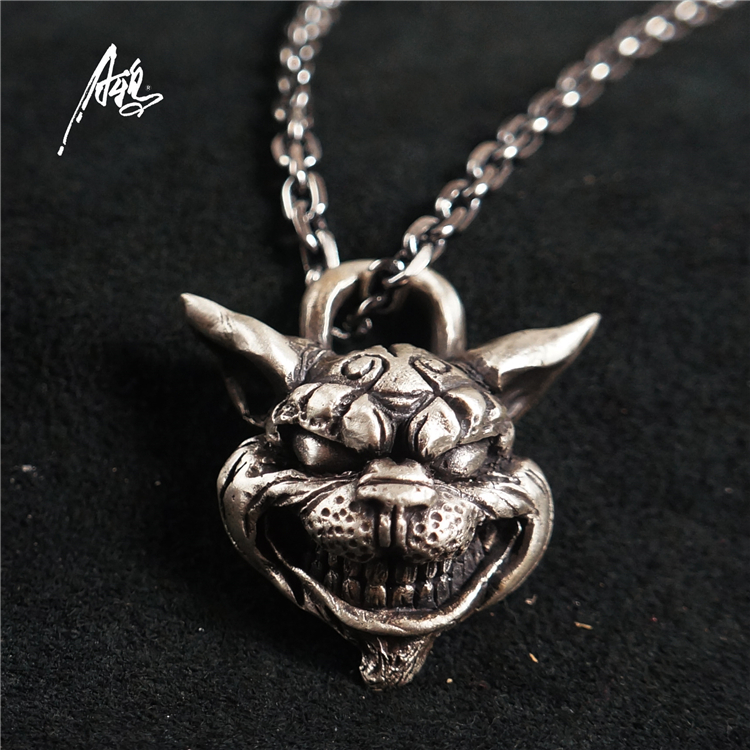 Custom Handmade Sterling Silver Aging Treatment Jewelry Alice Madness Returns Cheshire Cat 925 Silver Pendant Necklace the new cat cat 925 sterling silver garnet necklace pendant jewelry wholesale brand ethnic fashion
