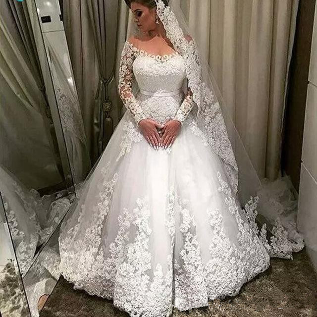 Vintage Simple Long Sleeve Wedding Dresses ball gown 2019 Jewel Neck Lace Applique Wedding Gown Bridal Dresses Custom Plus size