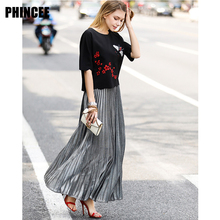 Vogue of new fund of 2017 summer joker pleated skirts long money pure color cultivate one's morality