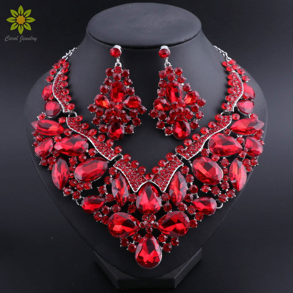 New Costume Women Dubai Jewelry Set African Beads Engagement Necklace and Earrings for Party chic rhinestone african plate shape pendant necklace and earrings for women