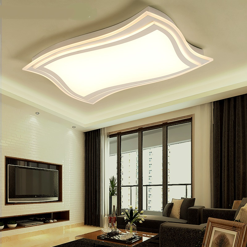 Simple rectangle LED ceiling lamp electrodeless remote control light dining room bedroom ...