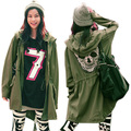 New Women Trendy Casual Military Army Punk Skull Back Hooded Jacket Coat Overcoat