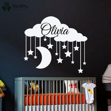 YOYOYU Wall Decal Personalized Name Stickers For Kids Rooms Cloud Moon and Stars Pattern Baby Nursery Decor Gift MuralSY697