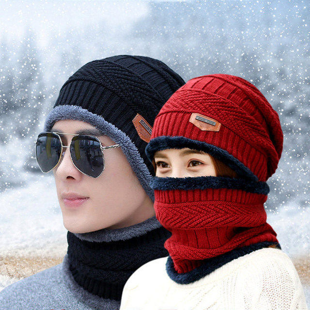 Mens Neck warmer winter hat knit cap scarf cap Winter Hats For men knitted hat  men Beanie Knit Hat Skullies Beanies cf78dbc6999