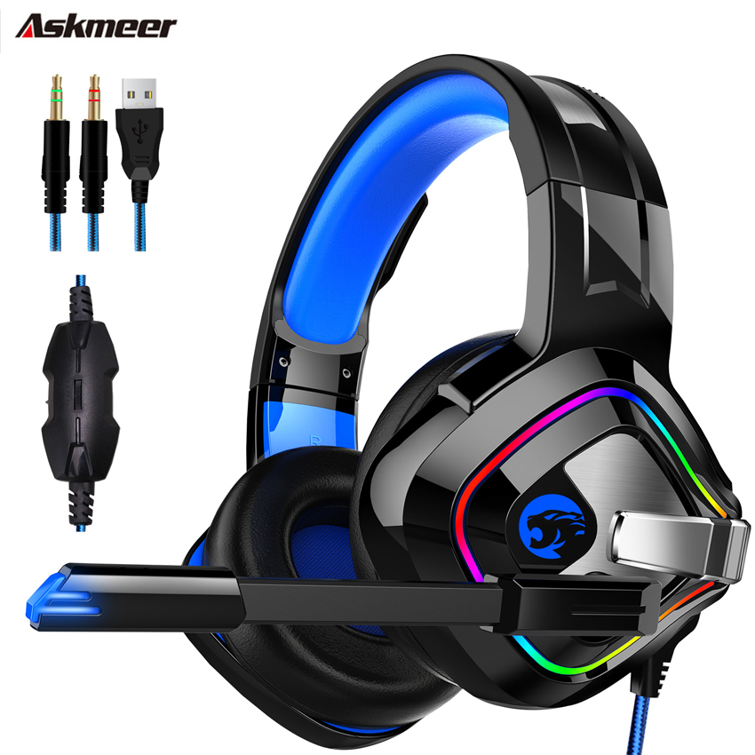 ASKMEER K2 PS4 3.5 mm + USB Gaming Headset casque Stereo wired Headphones with Mic Breathing Light for Xbox One  Computer gamer