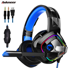 ASKMEER K2 PS4 3.5 mm + USB Gaming Headset casque Stereo wired Headphones with Mic Breathing Light for Xbox One  Computer gamer ihens5 computer usb 7 1 channel sound stereo gaming headphones gamer headset with mic led light for ps4 pc laptop xbox one gamer