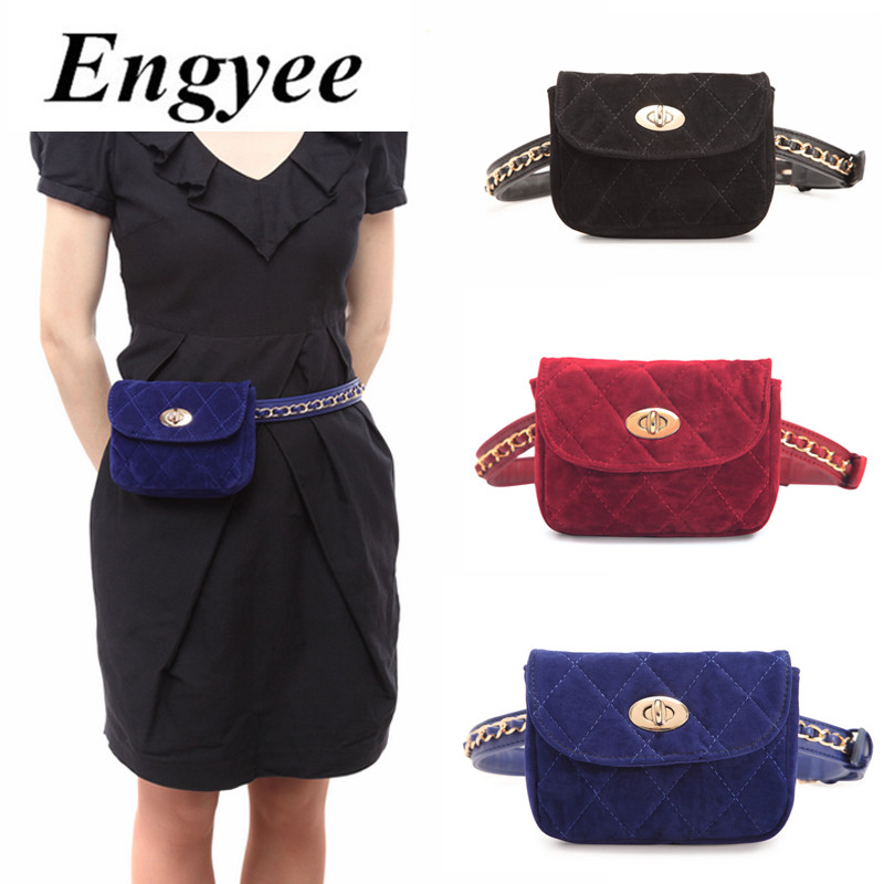 f33ddc4e1bc1 US $16.49 45% OFF|Engyee 2018 Small Travel Waist Bag Women Velour Waist  Fanny Pack Bags Fashion Leather Velvet Phone Belt Bum Bags Red Blue  Black-in ...