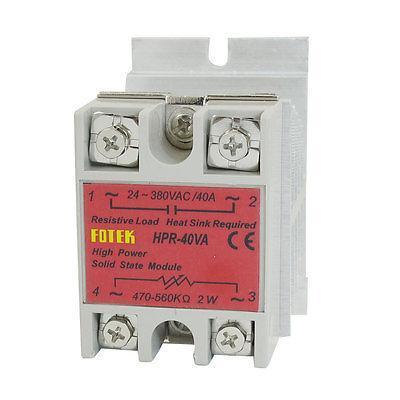 Solid State Relay HPR-40VA 40A 470-560Kohm 2W 24V-380V AC w Aluminum Heat Sink