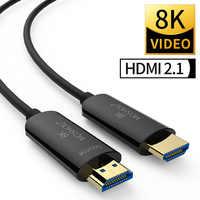 Os cabos de fibra ótica hdmi 2.1 48 gbps ultra de alta velocidade 8 k 4 k 4320 p uhd hdr alta-definição multimídia interface moshou amplificador