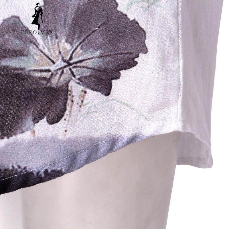 Hanfan Lotus En De Femelle Lanterne Nouveau Blanche Chemise White Printemps Femme Mousseline Soie Manteau 2018 Manches D'été Bas Motif Longues À fqUFnwpq