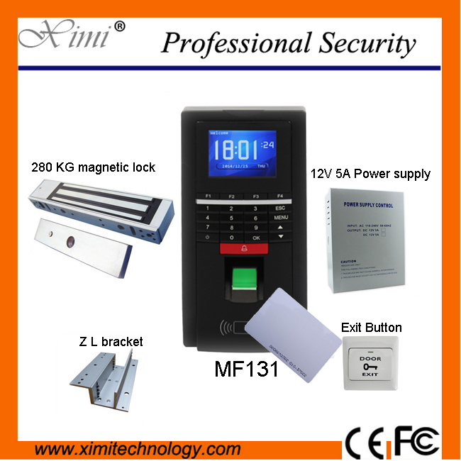 DIYSECUR TCP/IP USB Fingerprint ID Card Reader Password Keypad Door Access Control System + Power Supply + 280kg Magnetic Lock diy full tcp ip fingerprint access control system fingerprint door access control with rfid card reader md131 magnetic lock