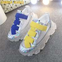 Casual Women Vulcanize Shoes Clear Platform Laser Sneakers Hook & Loop Mesh Female Trainers Comfort Woman Sport Shoes Size 35 40