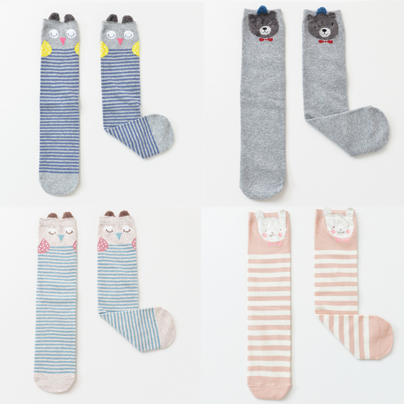 Kids Child Cotton 3D Cartoon High Socks Over Knee Animal Pattern Warm Stockings