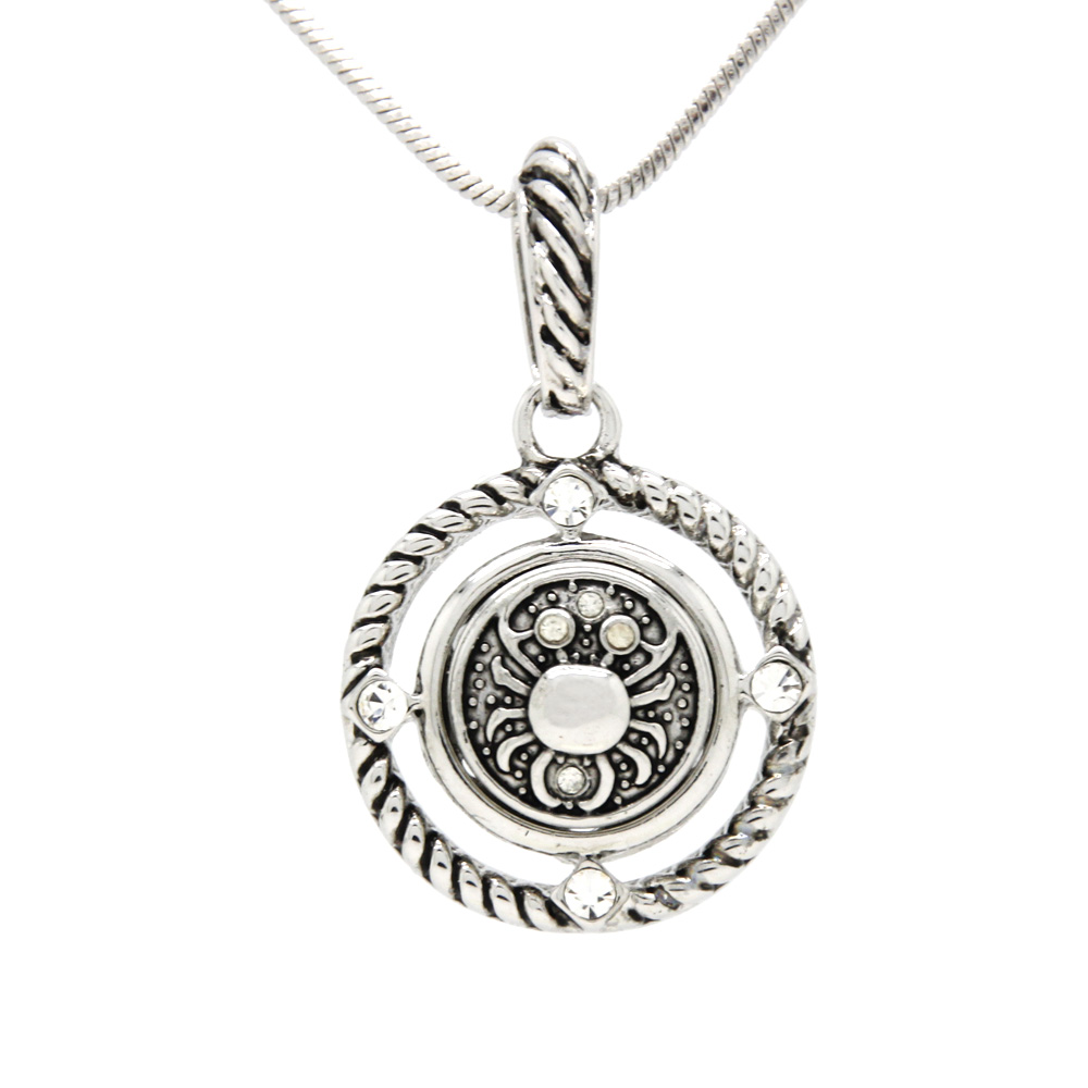 Interchangeable Disc Necklace: Snap Jewelry Vintage 12mm Snap Button Pendant Necklace
