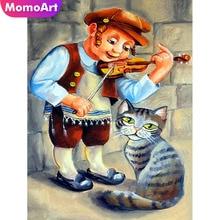 MomoArt Diamond Painting Cartoon Man Embroidery Full Square Rhinestone Mosaic Cat Decoration