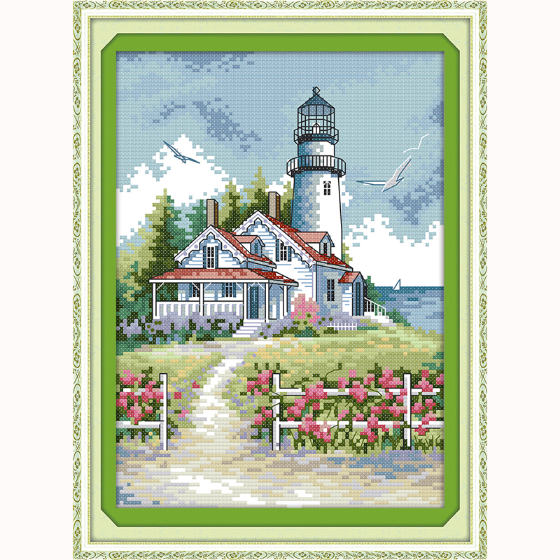 Lighthouse landscape Needlework, DIY DMC Cross Stitch ,Counted Embroidery Kits, 3D Pattern Cross-Stitching In Stock Hot Sale