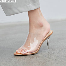 Transparent Shoes Sandals Clear Slippers Mules Slides High-Heels Genuine-Leather Women