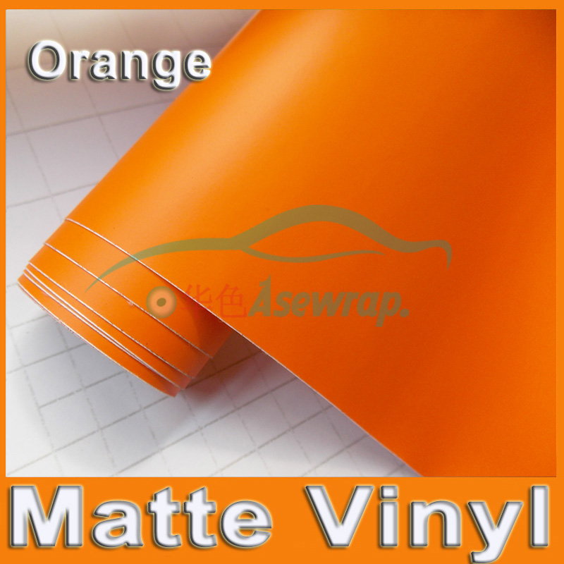 Free shipping high quality 30M/lot orange Matte Vinyl Wrap with Air release Satin Matt Black Foil Vehicle Wrap Film car Sticker